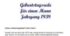 Geburtstagsrede für den Jahrgang 1939 (männlich)