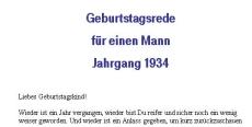 Geburtstagsrede für den Jahrgang 1934 (männlich)