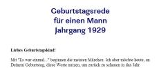 Geburtstagsrede für den Jahrgang 1929 (männlich)