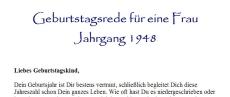 Geburtstagsrede für den Jahrgang 1948 (weiblich)