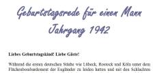 Geburtstagsrede für den Jahrgang 1942 (männlich)