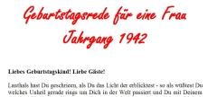 Geburtstagsrede für den Jahrgang 1942 (weiblich)