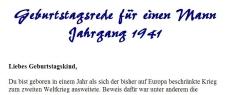 Geburtstagsrede für den Jahrgang 1941 (männlich)