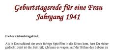 Geburtstagsrede für den Jahrgang 1941 (weiblich)