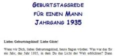 Geburtstagsrede für den Jahrgang 1935 (männlich)