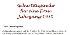 Geburtstagsrede für den Jahrgang 1930 (weiblich)