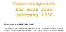 Geburtstagsrede für den Jahrgang 1936 weiblich