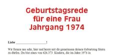 Geburtstagsrede für den Jahrgang 1974 weiblich
