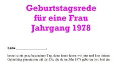 Geburtstagsrede für den Jahrgang 1978 weiblich