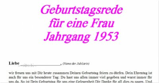 Geburtstagsrede Jahrgang 1953 weiblich