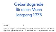 Geburtstagsrede für einen Mann Jahrgang 1978