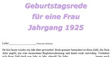 Geburtstagsrede für eine Frau Jahrgang 1925