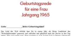 Geburtstagsrede für eine Frau Jahrgang 1965