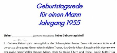 Geburtstagsrede für einen Mann Jahrgang 1955