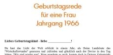 Geburtstagsrede für eine Frau Jahrgang 1966