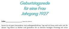 Geburtstagsrede für eine Frau Jahrgang 1927