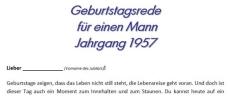Geburtstagsrede für einen Mann Jahrgang 1957