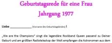 Geburtstagsrede für eine Frau Jahrgang 1977