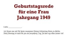 Geburtstagsrede für den Jahrgang 1949 (weiblich)