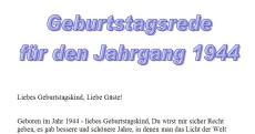 Geburtstagsrede für den Jahrgang 1944 (weiblich)