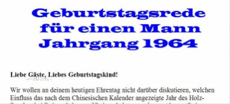Geburtstagsrede für den Jahrgang 1964 (männlich)