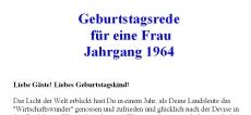 Geburtstagsrede für den Jahrgang 1964 (weiblich)