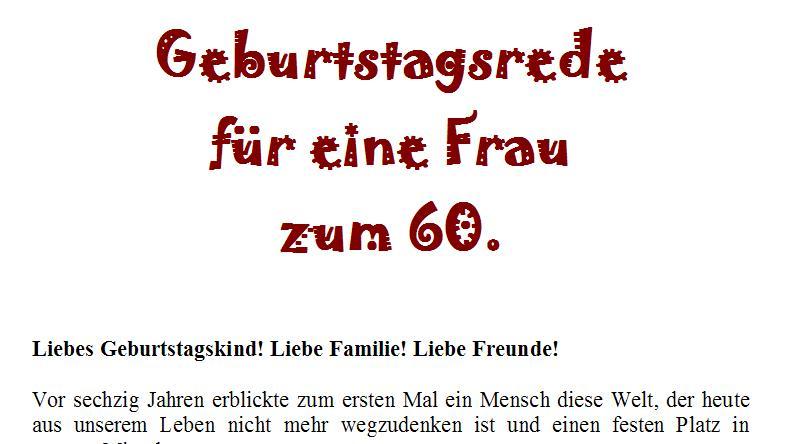 Geburtstagsrede Zum 60 Geburtstag Fur Eine Gute Freundin Oder Nahe