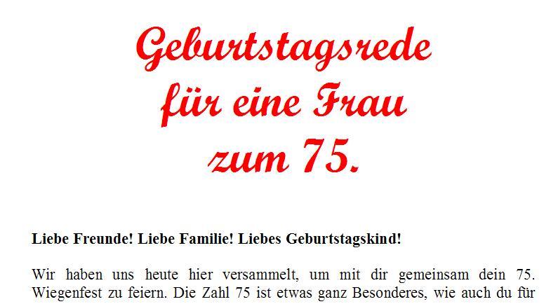 Geburtstagsrede Zum 75 Geburtstag Fur Eine Gute Freundin Oder Nahe