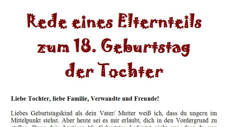 Geburtstagsrede Für Eine Frau Zum 18.