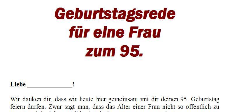 Geburtstagsrede Zum 95 Geburtstag Fur Eine Gute Freundin Oder Nahe