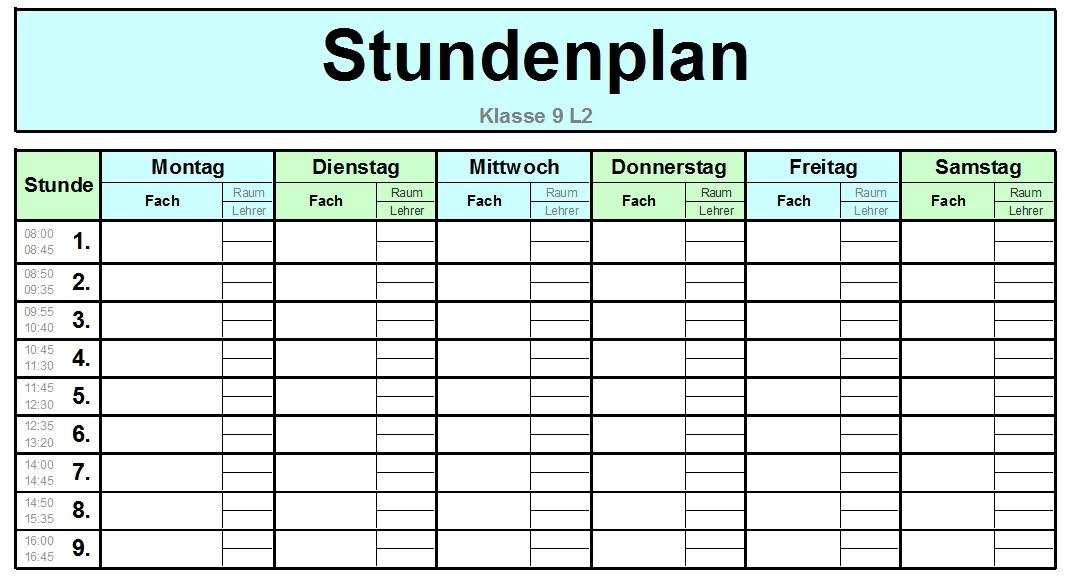Atemberaubend Stundenplan Excel Vorlage Zeitgenössisch ...