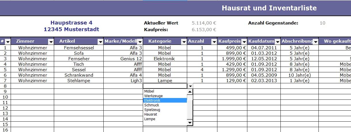 Gemütlich Haus Inventar Liste Vorlage Zeitgenössisch - Entry Level ...