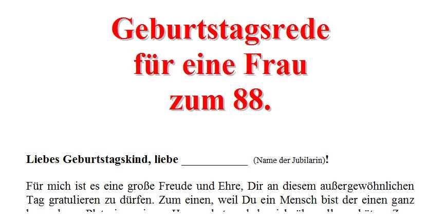 Geburtstagsrede Fur Eine Frau Zum 88 Geburtstag