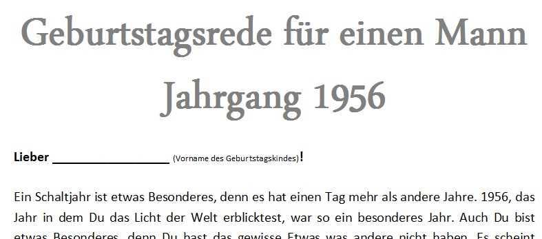 Bild: Rede Zum Geburtstag Für Einen Mann Jahrgang 1956
