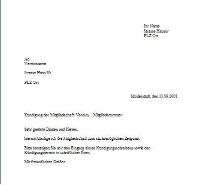 Briefvorlage Kündigung Mitgliedschaft