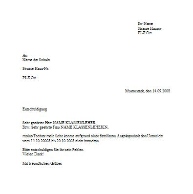 Briefvorlage Für Schulentschuldigung Wegen Familiärer Angelegenheiten