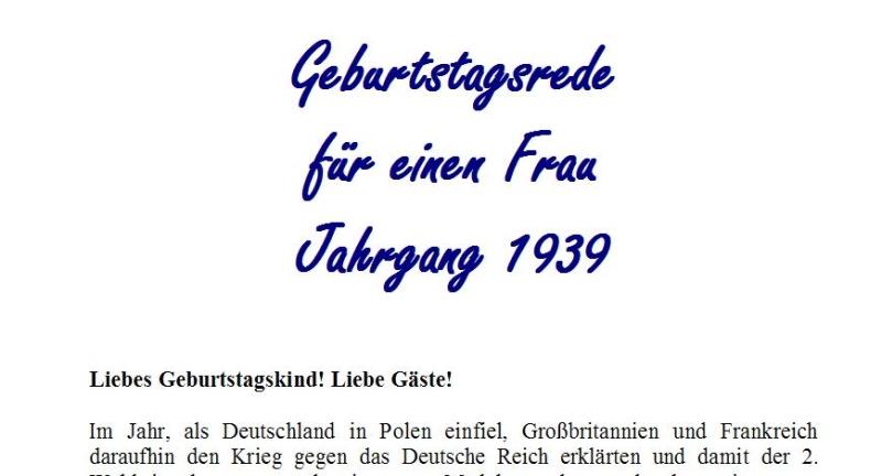 Geburtstagsrede für den Jahrgang 1939 (weiblich)