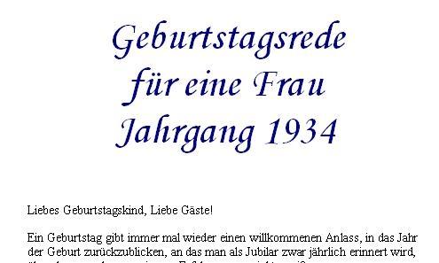 Geburtstagsrede Jahrgang 1934 (weiblich)