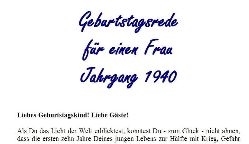 Geburtstagsrede für den Jahrgang 1940 (weiblich)