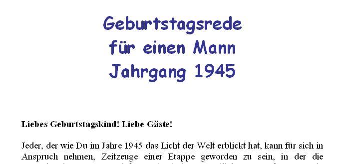 Geburtstagsrede für den Jahrgang 1945 (männlich)