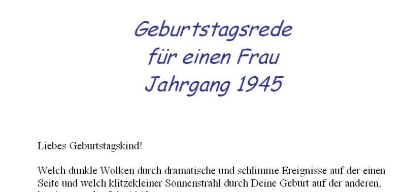 Geburtstagsrede für den Jahrgang 1945 (weiblich)