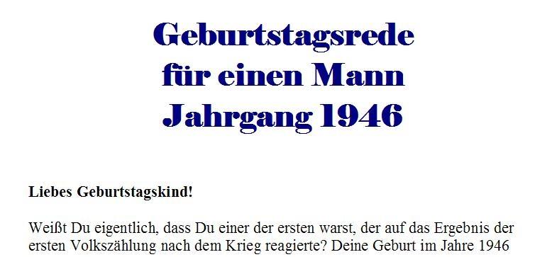 Geburtstagsrede für den Jahrgang 1946 (männlich)