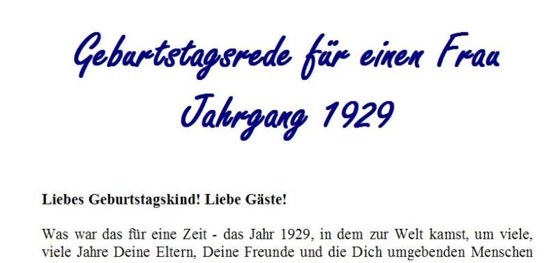 Geburtstagsrede für den Jahrgang 1929 (weiblich)
