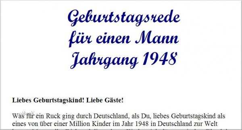 Geburtstagsrede für den Jahrgang 1948 (männlich)