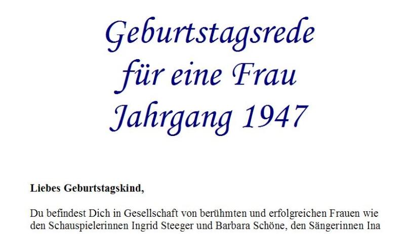 Geburtstagsrede für den Jahrgang 1947 (weiblich)
