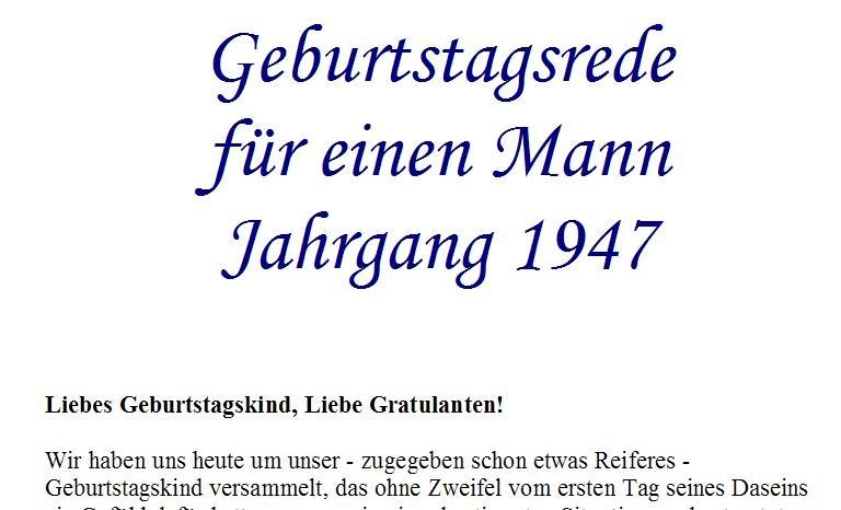 Geburtstagsrede für den Jahrgang 1947 (männlich)