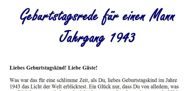 Geburtstagsrede für den Jahrgang 1943 (männlich)