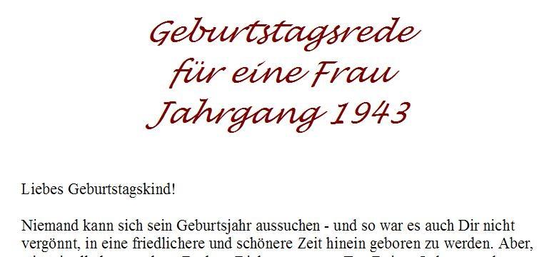 Geburtstagsrede für den Jahrgang 1943 (weiblich)