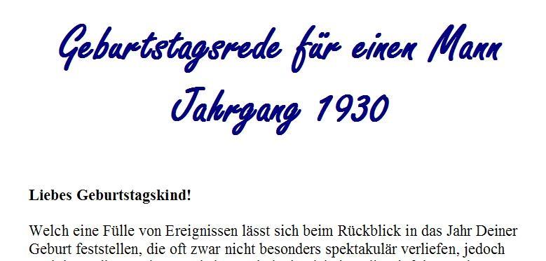 Geburtstagsrede für den Jahrgang 1930 (männlich)