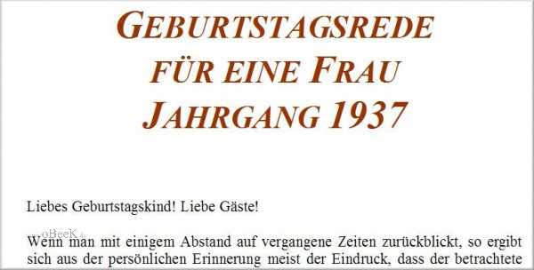Geburtstagsrede für den Jahrgang 1937 (weiblich)